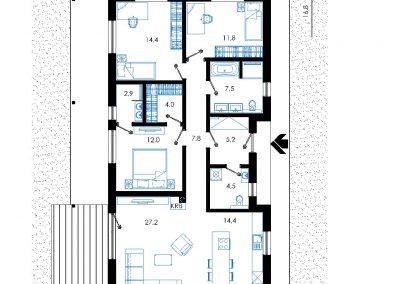 Rodinný dom RD02 nákres pozemku